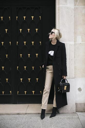 damsel in dior blogger sweater pants shoes winter outfits black coat ankle boots handbag spring outfits