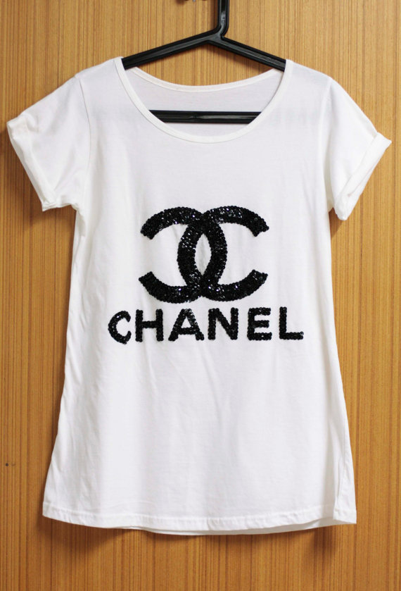 0b0b38f31b90a COCO CHANEL T Shirts blouse Tunic handmade crystal seed beads sequins sew  fix
