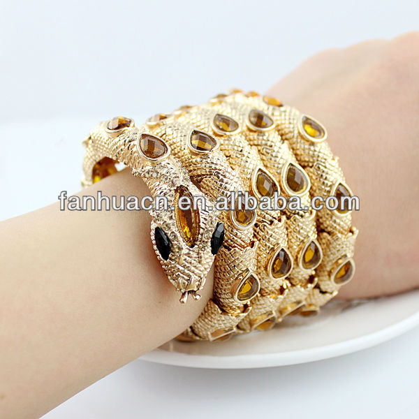 Designer jewelry wholesale charming full yellow rhinestone gold plated alloy snake bracelets and bangles
