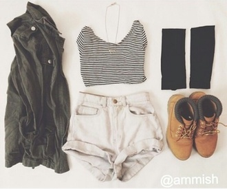 pants high waisted shorts shoes t-shirt stripes tank top shirt blouse cotton black and white striped