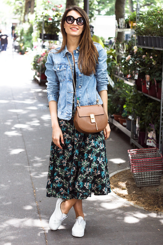 style and trouble blogger skirt denim jacket brown leather bag