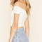 White off the shoulder crop t-shirt