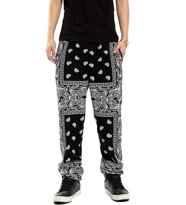Mens bandana paisley hiphop sweatpants harem pants hip hop dance trousers unisex