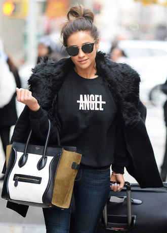 bag celine shay mitchell sunglasses black sweater black coat black combat boots coat shirt