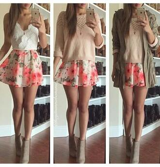 skirt flowers outfit shoes