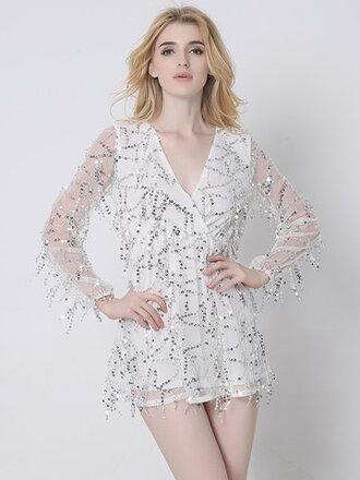 dress glitter white sparkle sequins party dress newchic