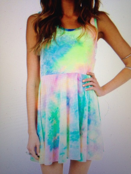 rainbow blue pink dress pretty white prom dress tye dye tie die dye prom tobi short acid wash cotton baby doll babydoll babydoll dress green he tie dye short dress casual dress