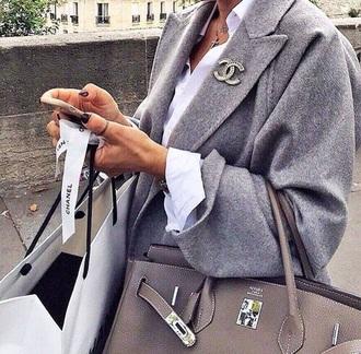 coat chanel grey jacket