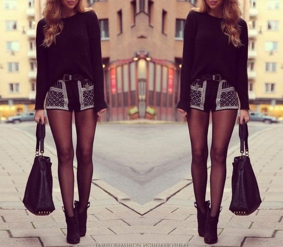 pantyhose fashion skirt style bag blouse tights