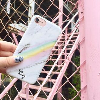 phone cover yeah bunny marble iphone rainbow cover