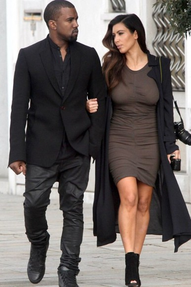 dress brown dress kim kardashian khaki mini dress