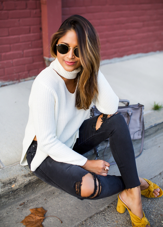 hauteofftherack blogger jeans bag sunglasses fall outfits white sweater sandals ripped jeans yellow shoes