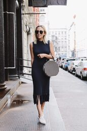 damsel in dior,blogger,dress,black dress,sweater dress,fringes,fringed dress,white shoes,navy dress,office outfits,work outfits,black knit dress
