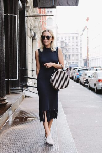 damsel in dior blogger dress black dress sweater dress fringes fringed dress white shoes navy dress office outfits
