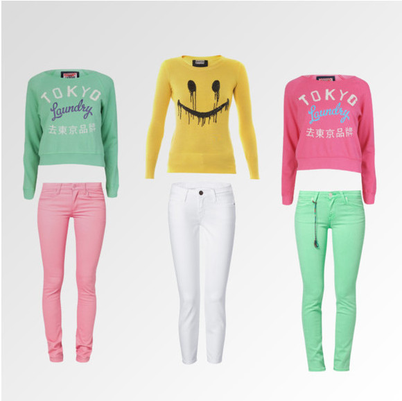 green sweater jeans pink sweater pink jeans green jeans white jeans yellow smiley shirt colorful