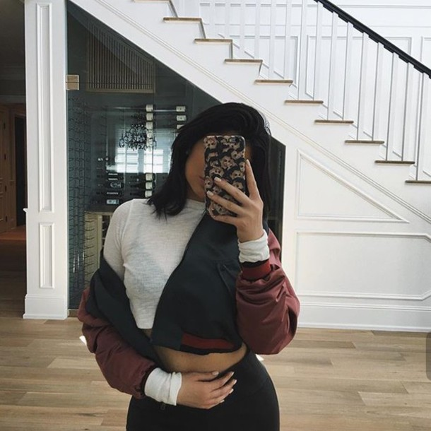 Jacket Kylie Jenner Cute Tumblr Black Red Burgundy