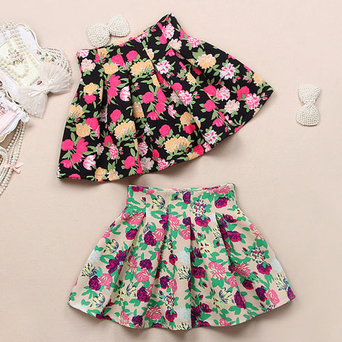 Grzxy6601504 vintage colorful floral print high waist pleated skirt