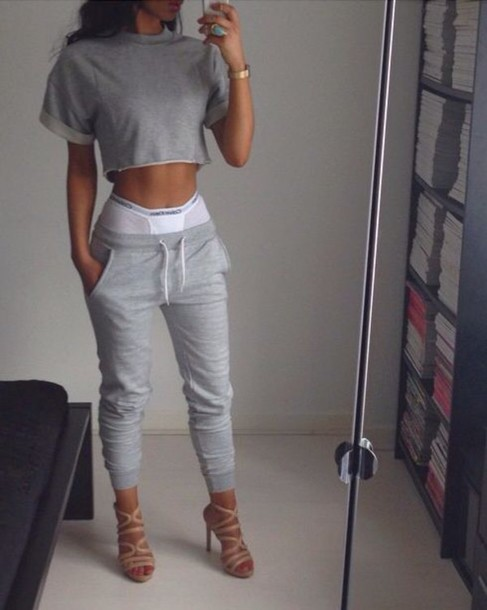 sweater sweatpants grey half shirt midriff joggers calvin klein shoes cropped sweater. Black Bedroom Furniture Sets. Home Design Ideas