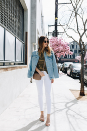 take aim,blogger,top,jeans,jacket,bag,jewels,sunglasses,nude heels,tumblr,white jeans,skinny jeans,sandals,mules,lace up nude heels,heels,t-shirt,camouflage,denim jacket,denim,brown bag,crossbody bag,spring outfits,sandal heels,high heel sandals,blue jacket