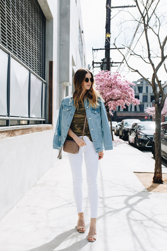 take aim blogger top jeans jacket bag jewels sunglasses nude heels tumblr white jeans skinny jeans sandals mules lace up nude heels heels t-shirt camouflage denim jacket denim brown bag crossbody bag spring outfits