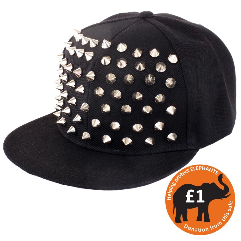Bling black snapback flat peak baseball cap with silver spikes
