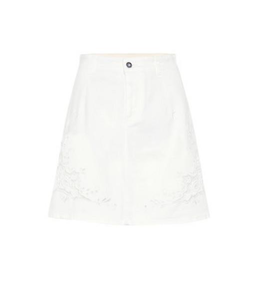 Stella McCartney Embroidered denim skirt in white