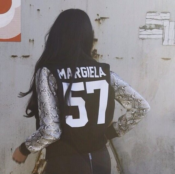 baseball jacket jacket margiela maison martin margiela leather varsity jacket snake print flocked