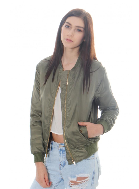 Green bomber jacket for womens