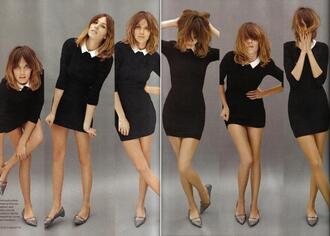 black dress dress collar alexachung black mini bodycon