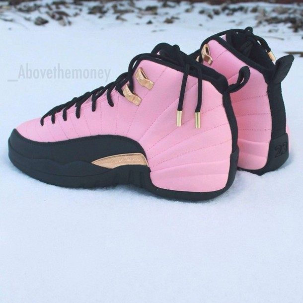 58785dc12b8 pink sneakers, pink, shoes, air jordan 12, jordans, jordan's shoes ...