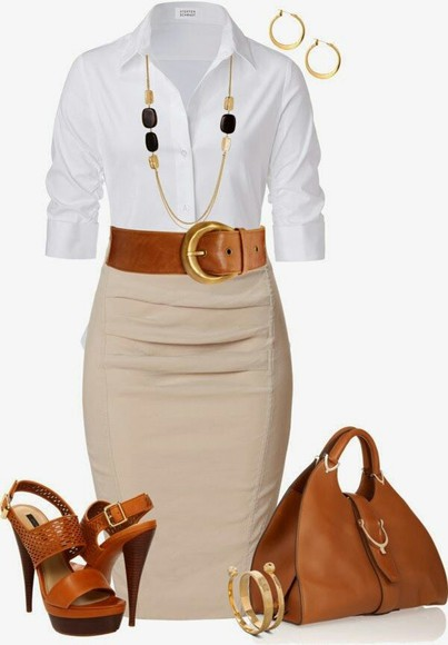 shoes beige skirt blouse jewels bag pencil skirt office outfit white and beige