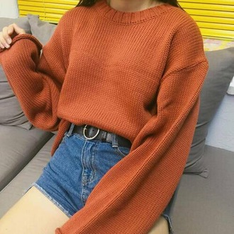 sweater burnt orange pull oversized