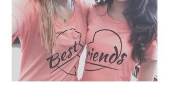 t-shirt pink pink t-shirt bff bestfriend shirt