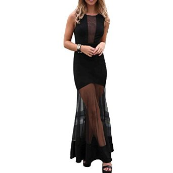 Your Gallery Women's See Through Mesh Sheer Spliced Maxi Dress Black at Amazon Women's Clothing store: