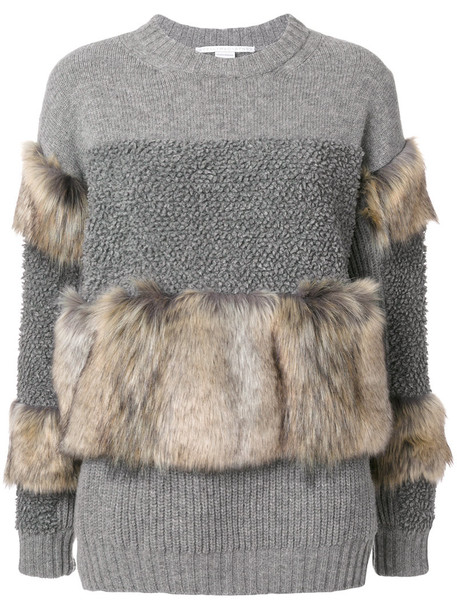 Stella McCartney - fur free knit sweater - women - Silk/Modacrylic/Polyamide/Virgin Wool - 38, Grey, Silk/Modacrylic/Polyamide/Virgin Wool