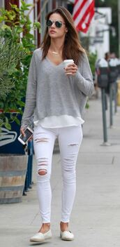 sweater,denim,ripped jeans,alessandra ambrosio,white jeans,sunglasses,jeans,white ripped jeans