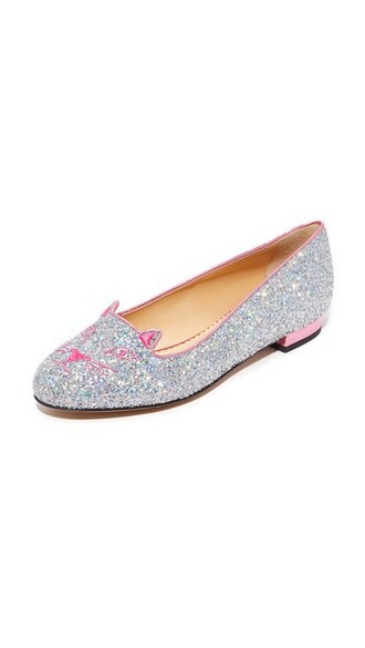 rose fantasy flats silver shoes
