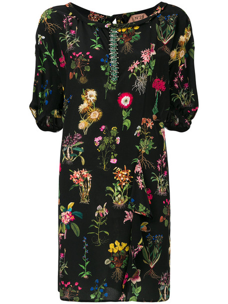 No21 dress shift dress ruffle women floral black silk