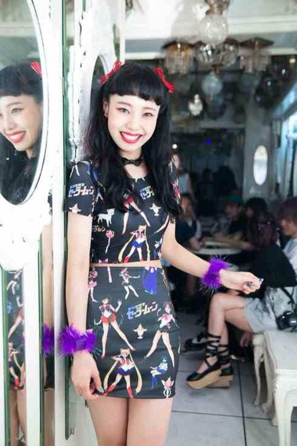 dress kawaii kawaii grunge sailor moon black anime 90s style t-shirt shirt skirt
