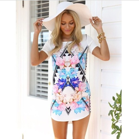 floral summer outfits white dress purple flowers blue flowers aztec