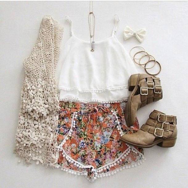 cardigan shorts tank top colored colorful orange black white beautiful summer cute spring short high waisted pants