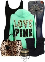 jeans,clothes,purse,victoria's secret,bag,shoes,pink by victorias secret,jacket,leopard print,green