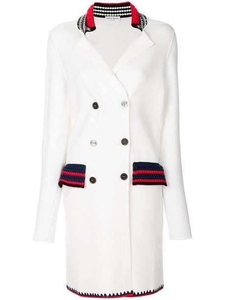 Sonia Rykiel coat double breasted women white cotton wool knit