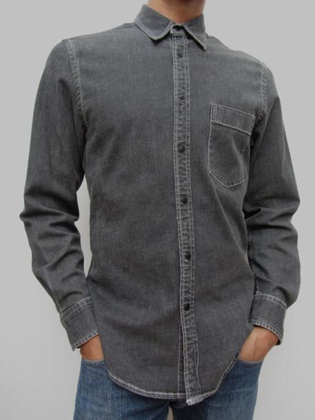 shirt  peoplewear  button up  dkny  mens  menswear  grey shirt  vintage fashion  vintage dkny