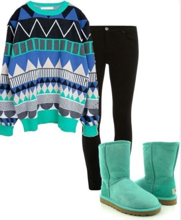 sweater tribal pattern blue aqua cute hipster girly sweet outfit aztec aztec sweater swag swag
