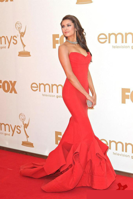 Aliexpress.com : Buy Nina Dobrev Red Carpet Dress In Emmys Dropped Waist Cascade Ruffled Trumpet Skirt Strapless Open Back Red Celebrity Prom Gowns from Reliable carpet service suppliers on Dream Country
