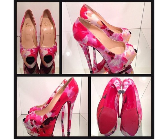 shoes christian louboutin pink pumps pink high heel pumps floral pumps popi fabric pumps
