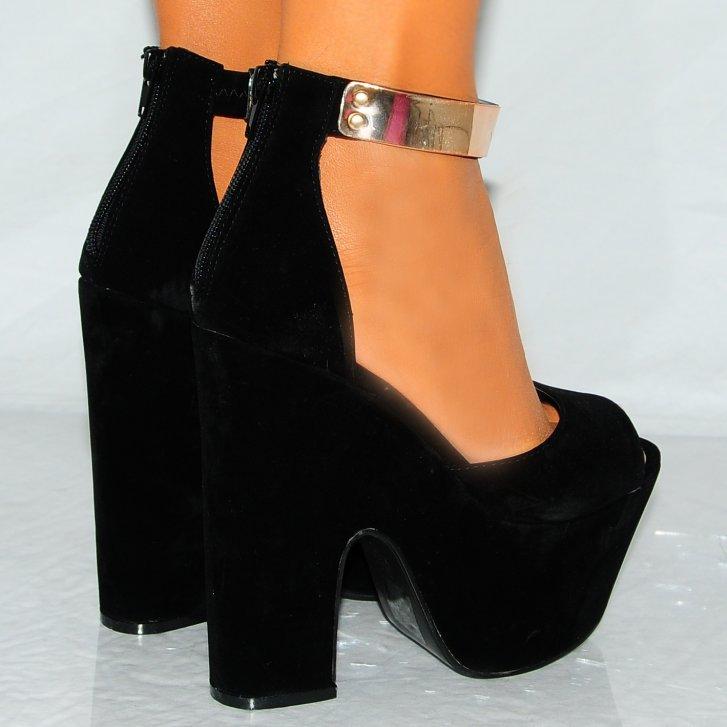 Ladies Black Gold Metal Ankle Cuff Platforms Wedges