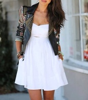 dress,jacket,clothes,leather jacket,white dress,coat,rivet jacket,spiked leather jacket,flowers,ramones,khaki,swag,white,short,cute,black,studded jacket,cute dress,pretty,black jacket,leather jacket black silver biker rock cool,studs,living,gruge,style,perfecto,many colours