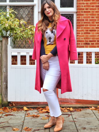 fashion foie gras blogger sweater coat jeans pink coat white pants fall outfits ballet flats